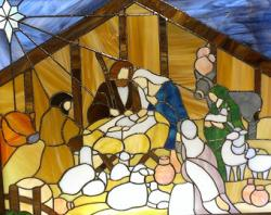 Stained Glass clipart nativity scene