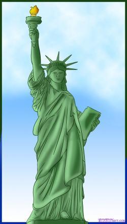 Drawn statue of liberty sculpture