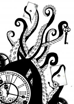 Drawn tentacle black and white