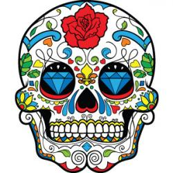 Sugar Skull clipart colored