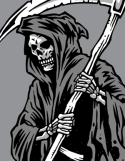 Drawn grim reaper skeleton