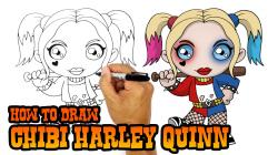 Drawn harley quinn chibi