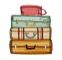 Drawn purse vintage suitcase