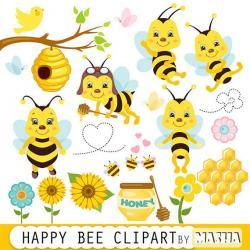 Bee Hive clipart happy bee