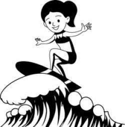 Surfer clipart black and white