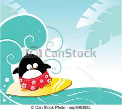 Penguin clipart surfing