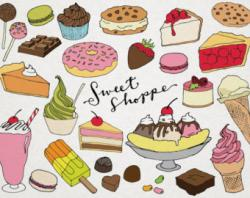 Typography clipart french dessert