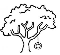 Tire Swing clipart black and white