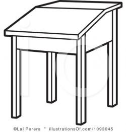 Desk clipart black and white