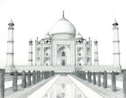 Taj Mahal clipart pencil sketch