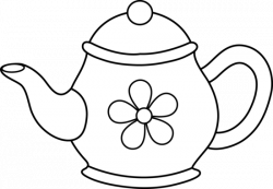 Drawn teapot black and white