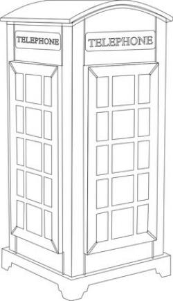 Telephone Booth clipart black and white