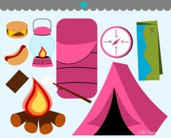 Camp clipart pink tent