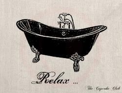 Vintage clipart bathtub