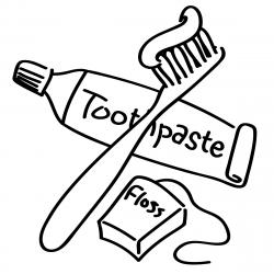 Toothbrush clipart coloring page