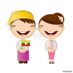 Traditional Costume clipart myanmar national