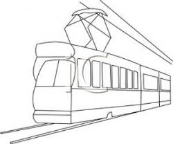 Tram clipart black and white