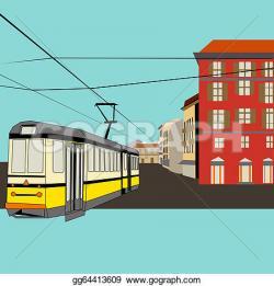 Tram clipart city street