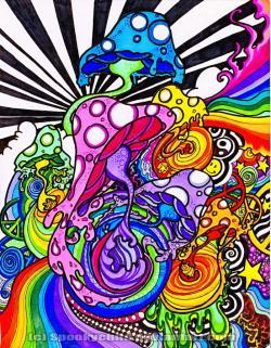 Drawn mushroom trippy