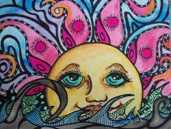 Drawn sunshine psychedelic