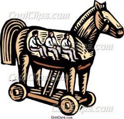 Trojan Horse clipart woodcut