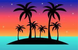 Eiland clipart ocean sunset