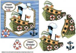 Tugboat clipart happy