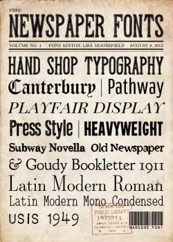 Typeface clipart newspaper cutting
