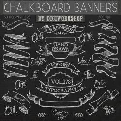 Typography clipart ribbon banner
