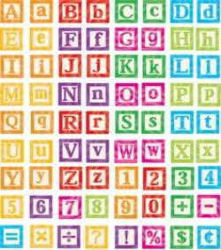 Typeface clipart toy block