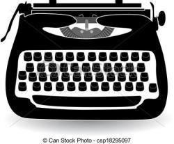 Drawn typewriter vector