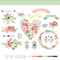 Typography clipart floral heart