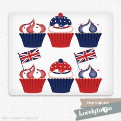 Union Jack clipart cupcake