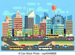Urban clipart city traffic