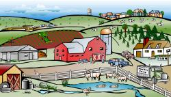 Canal clipart farm community