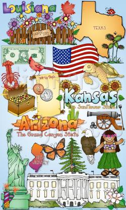 USA clipart 50 state