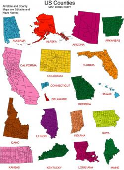 USA clipart individual state