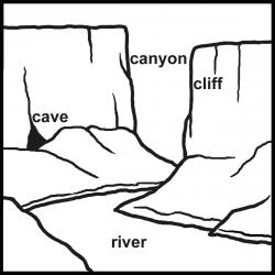 Canyon clipart black and white