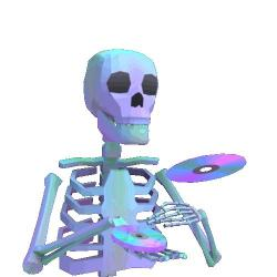 Vaporwave clipart skeleton