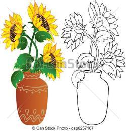 Vase clipart sunflower plant