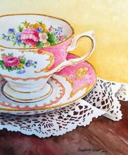 Vase-painting clipart pink tea cup