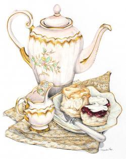 Vase-painting clipart tea scone