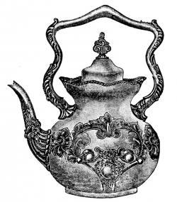 Drawn teapot old fashioned