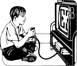 Video Game clipart lazy kid
