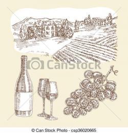 Vineyard clipart hand drawn