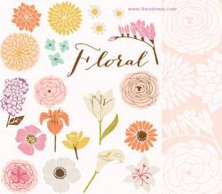 Photoshop clipart vintage floral design