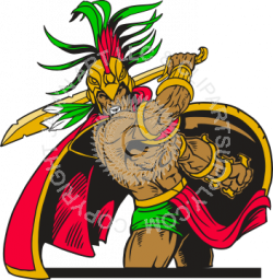 Aztec Warrior clipart fighting