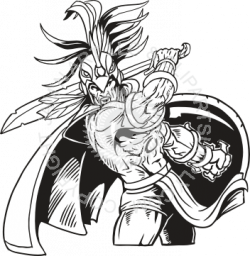 Aztec Warrior clipart black and white