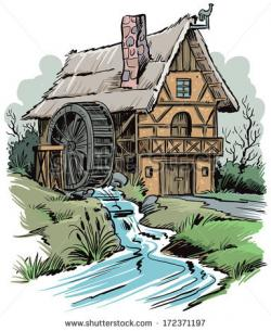 Watermill clipart cartoon