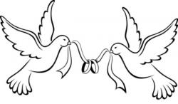 Drawn lovebird wedding